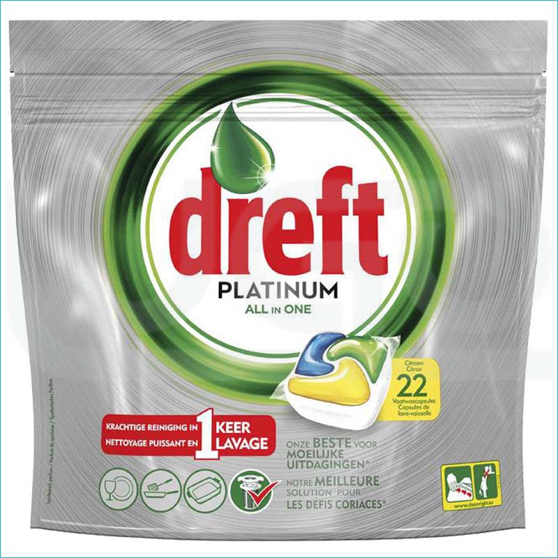 Dreft Platinum kapsułki do zmywarki 22szt Citron